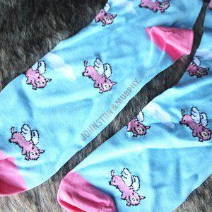 flying pigs in the sky fun socks